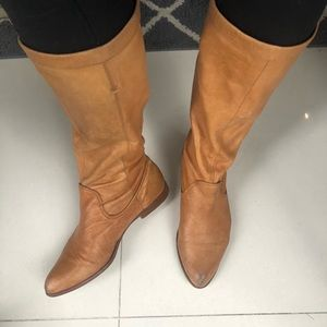 Frye sz 8.5 Cindy Slouch tan leather boots
